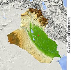 mapa, zaćmiony, irak, ulga