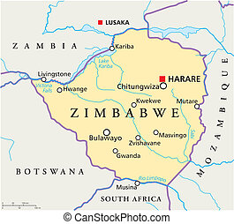 mapa, zimbabwe, político