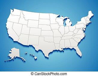 mapa, zjednoczony, ameryka, stany