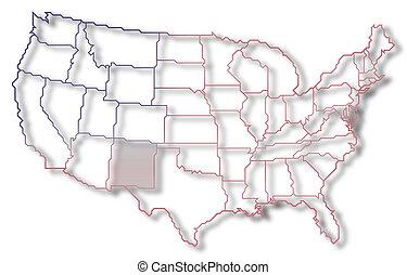 mapa, zjednoczony, meksyk, stany, highlighted, nowy