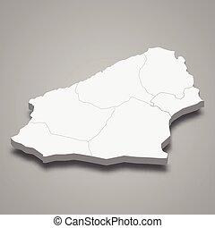 mapa, zonguldak, provincia, pavo, isométrico, 3d