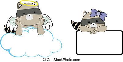 mapache, ángel, caricatura, copyspace