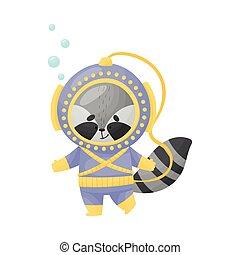 mapache, escafandra autónoma, ilustración, llevando, vector, salto subacuático, traje