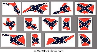 mapas, bandera, confederado