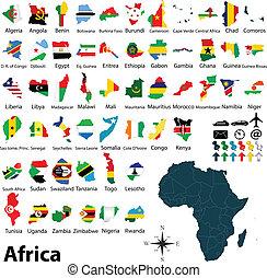 mapas, banderas, áfrica