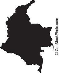 mapas, vector, ilustración, colombia