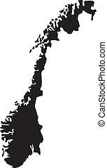 mapas, vector, noruega, ilustración