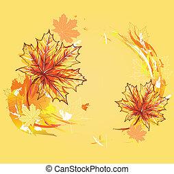 mapel, autums, fond, pousse feuilles