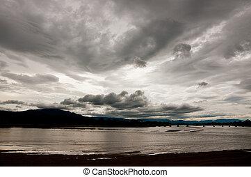 maping, 川, 空, 風景, 曇り