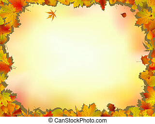 Maple and oak leaves frame