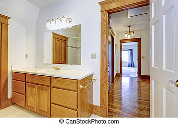 Maple bathroom vanity cabinet with drawers, white counter ...