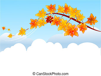 Maple branch - Maple autumn branch on blue sky and clouds...