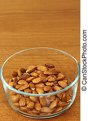 Maple Glazed Almonds in a Glass Bowl