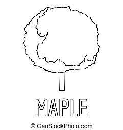 Maple icon, outline style.