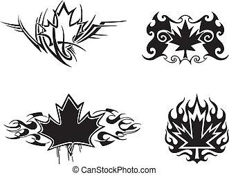 Maple Leaf Flames - Four Canadian maple leaf flame & tattoo...