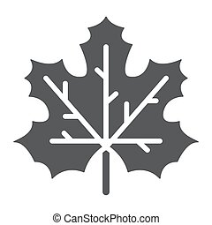 Maple leaf glyph icon, canada and nature, autumn sign, vector graphics, a solid pattern on a white background.