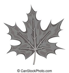 Maple leaf icon in monochrome style isolated on white background. Canadian Thanksgiving Day symbol stock vector illustration.