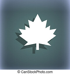 Maple leaf icon. On the blue-green abstract background with shadow and space for your text.