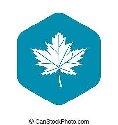 Maple leaf icon, simple style