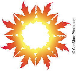 Maple Leaf Illustration in a circle