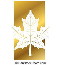 Maple leaf in a golden label