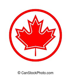 maple leaf in a red circle