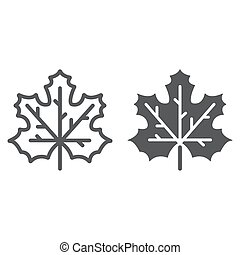 Maple leaf line and glyph icon, canada and nature, autumn sign, vector graphics, a linear pattern on a white background.