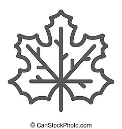 Maple leaf line icon, canada and nature, autumn sign, vector graphics, a linear pattern on a white background.