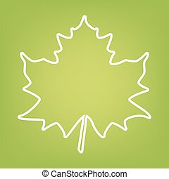 Maple leaf line icon on green background. Vector...
