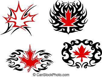 Maple leaf mascots and symbols for tattoo design