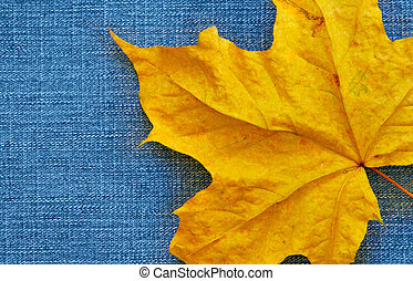 Maple leaf over jeans background with space for text on left