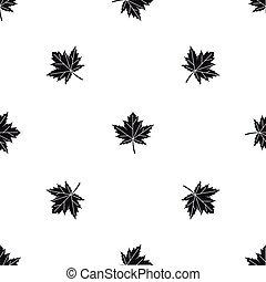 Maple leaf pattern seamless black