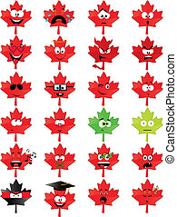 Collection of 24 maple-leaf-shaped smiley faces - vector illustrations