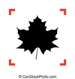 Maple leaf sign. Black icon in focus corners on white background