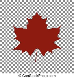 Maple leaf sign. Maroon icon on transparent background.