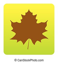 Maple leaf sign. Vector. Brown icon at green-yellow gradient square with rounded corners on white background. Isolated.
