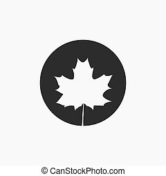 Maple leaf silhouette on a contrast background.
