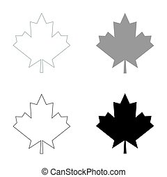 Maple leaf   the black and grey color set icon .