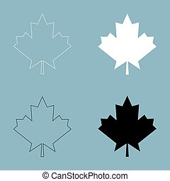 Maple leaf  the black and white color icon .