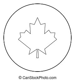 Maple leaf the black color icon in circle or round