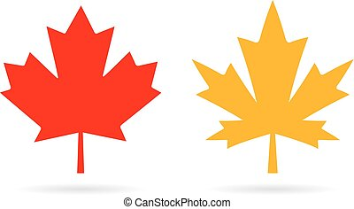 Maple leaf vector icon - Maple leaves vector icons set