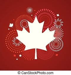 Maple leaf with firework poster for celebrate the national day of Canada. Happy Canada Day card. Canada flag, fireworks, red maple leaf.