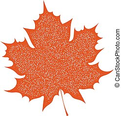 Maple Leaf with grange texture on a white background. Autumn...