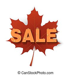 Maple Leaf with the SALE. Vector