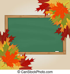 Maple leaves and green chalkboard