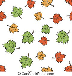 Maple Leaves Flat Vector Seamless Pattern on White