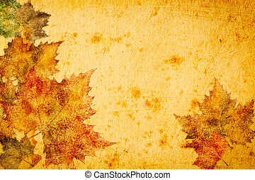 maple leaves grunge paper  for background
