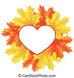 Maple leaves in the frame in the shape of heart
