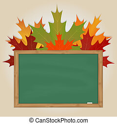 Maple leaves on green chalkboard
