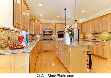 maple, luxo, novo, grande, cozinha, com, granito